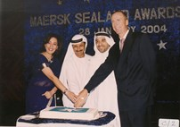 Sultan Ahmed bin Sulayem Executive Chairman of the Ports, Customs and Free Zone corporation, with Poonam Datta, Managing Director, Maersk Sealand, Mishal Kanoo Deputy Chairman, Kanoo Group and Jesper Kjaedgaard, regional CEO, Maersk