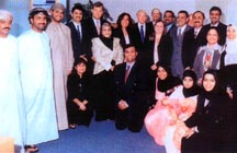 The staff from Maersk Sealand's office in Muscat with Mr A.P.Moller owner of Maersk and Poonam Datta